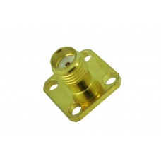 SMA female panel mount 4-hole connector goldplated